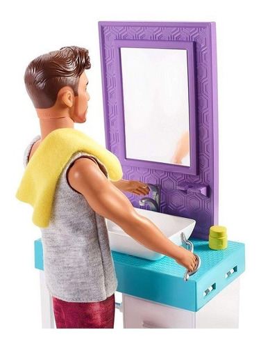 barbie ken barba mágica mueble baño mattel envío gratis