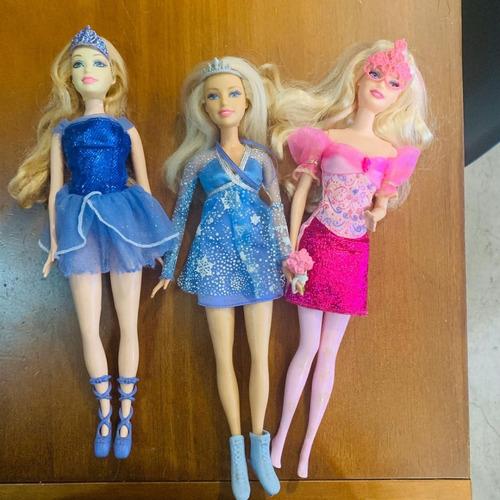barbie lote com 3 mosqueteiras bailarina quero ser ski