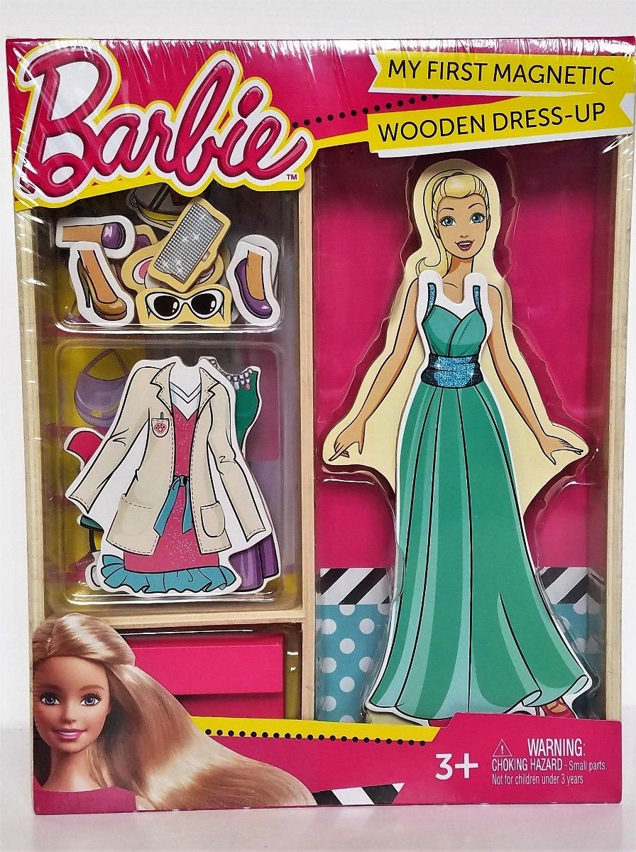 barbie mi primer juego de muñecas de vestir de madera mag