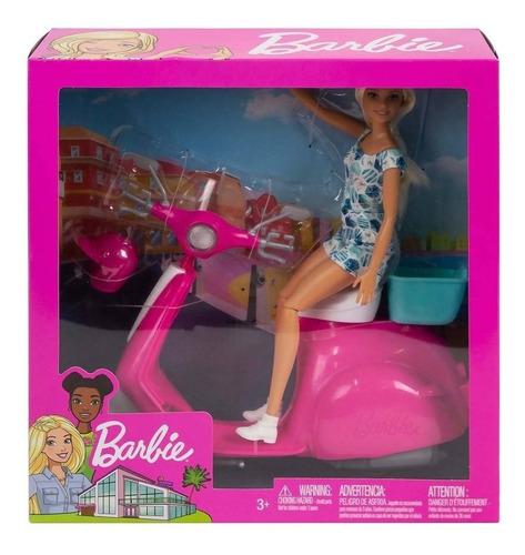 barbie muñeca (30 cm) + motoneta y casco mattel moto scooter