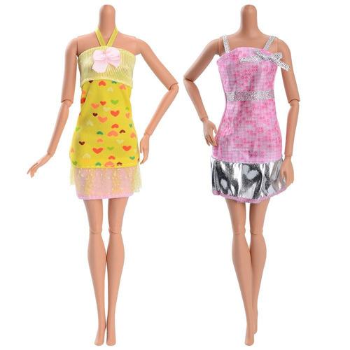 barbie muñeca fashionista vestidos cortos largos 4 piezas