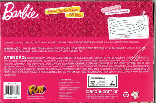 barbie piscina fashion media 135 litros fun - bonellihq b19
