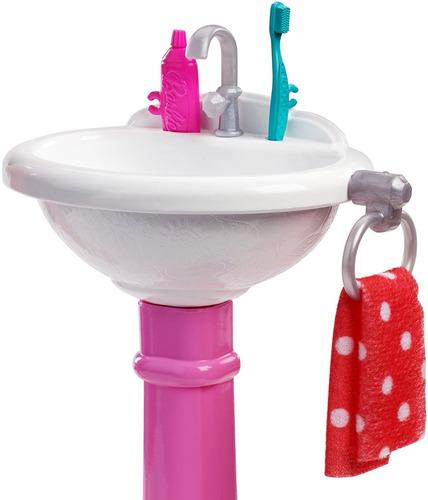 barbie set pia de banheiro e acessórios - morena - 2018