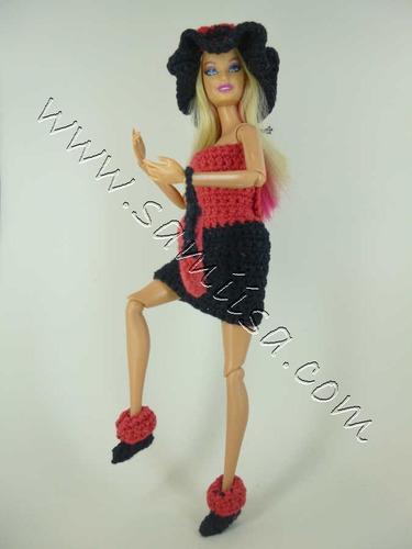 barbie vestido rojo-negro tejido. samiisa excelente