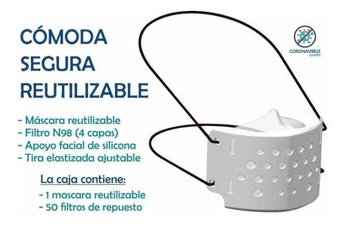barbijo reutilizable con 50 filtros