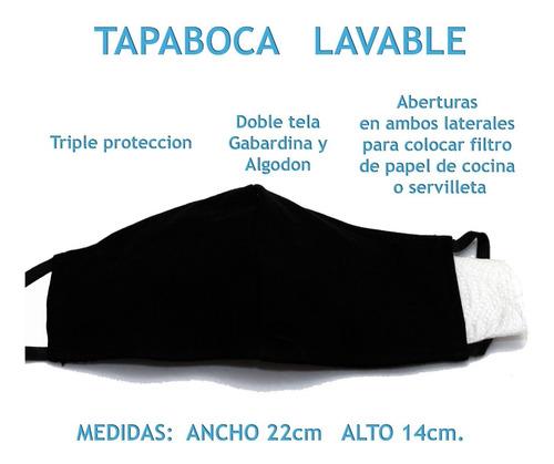 barbijo tapaboca pack x 3 bolsillo filtro reversible