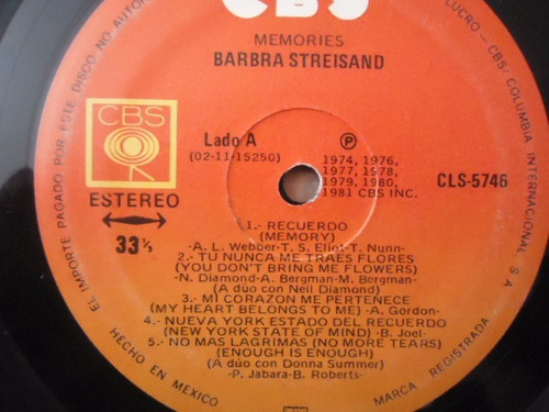 barbra streisand / memories vinyl lp acetato
