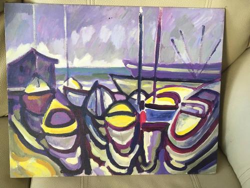 barcas en el pueto- jorge chacon - 41 x 51 cm