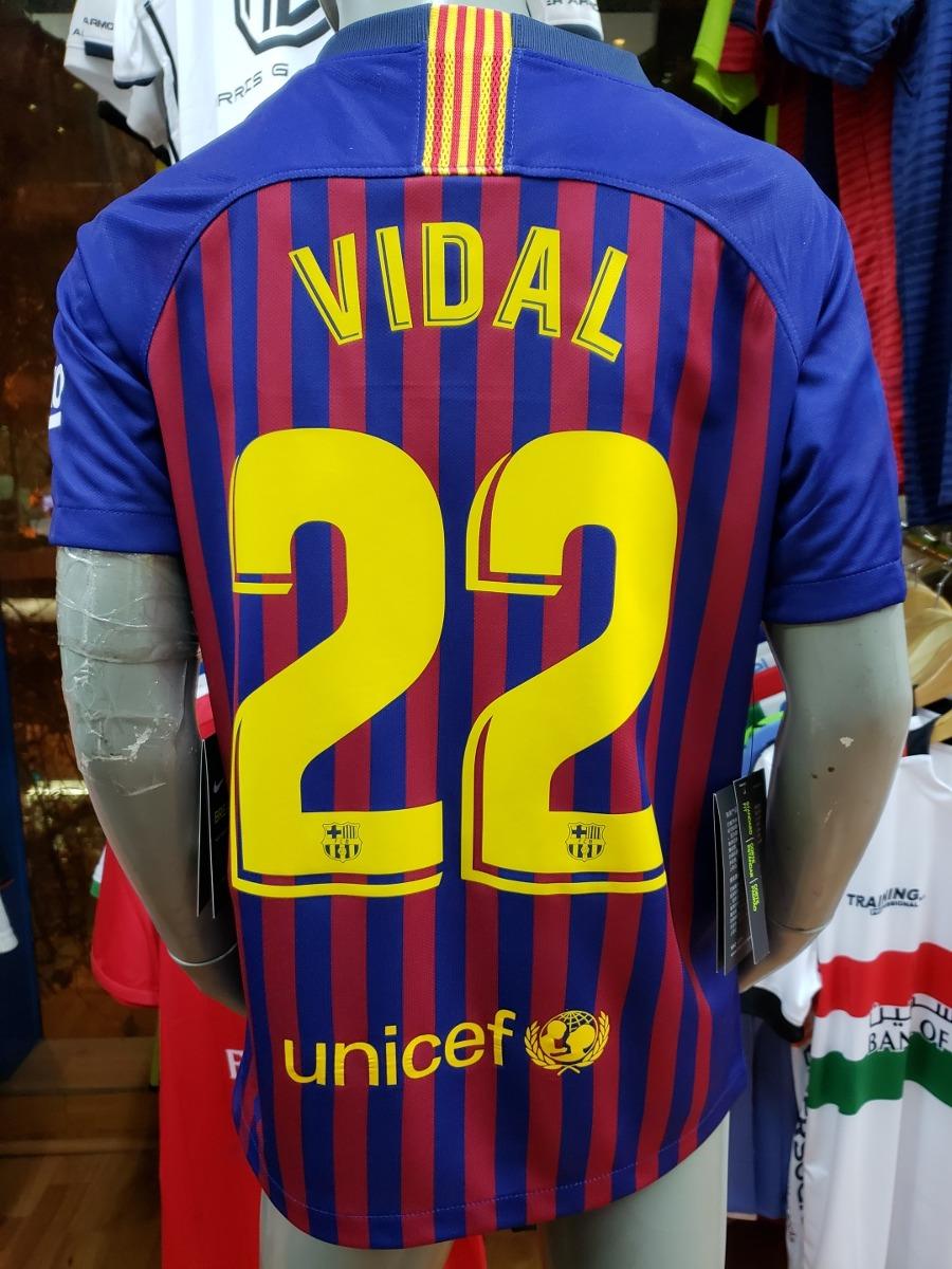 Barcelona 2018-19 De Niño Estampado Vidal 22 Nike Original ... df604248a63