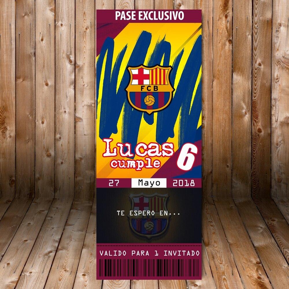 Barcelona Futbol Club Tarjeta Invitación Cumpleaños Kit