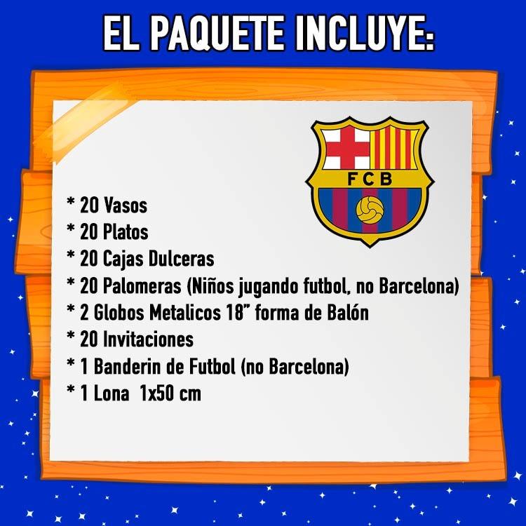 5abde83df3677 Barcelona Kit 20 Niños Dulceros Vasos Platos Fiesta Tematica ...