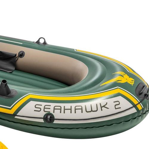barco bote inflável intex seahawk 200 kg bomba remos pesca