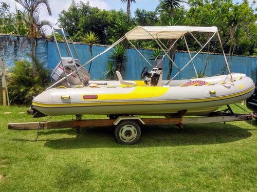 barco bote inflável zefir g550 ano 2001 motor mariner 135hp