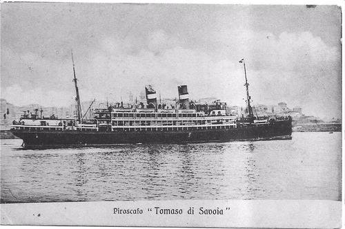 barco  buque transatlántrio piróscafo tomaso di savoia 1909