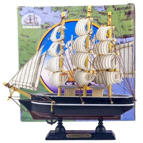 barco caravela decorativo 20 cm - em madeira
