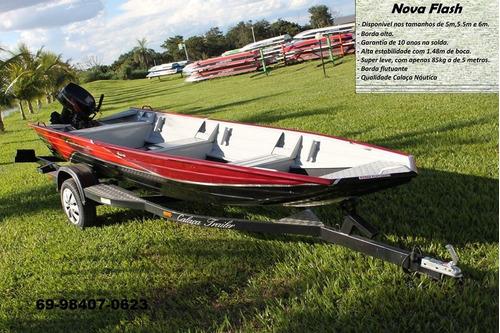 barco de alumínio calaça mod nova flash 550 de 5,5 metros
