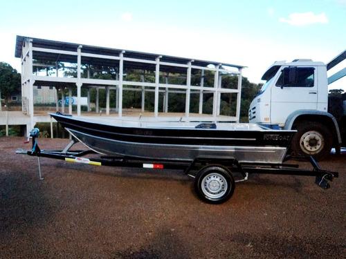 barco de alumínio fortboat life 420 novo 4,2m somente casco