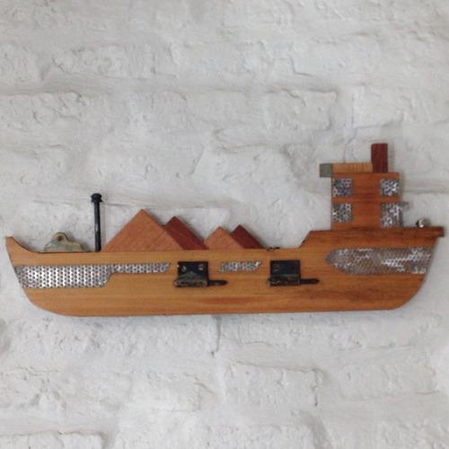 barco decoracion arte adorno vintage madera metal