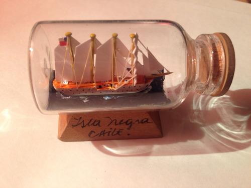 barco en botella pequeño isla negra chile perfecto estado