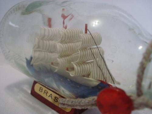 barco garrafa caravela veleiro madeira decorativa
