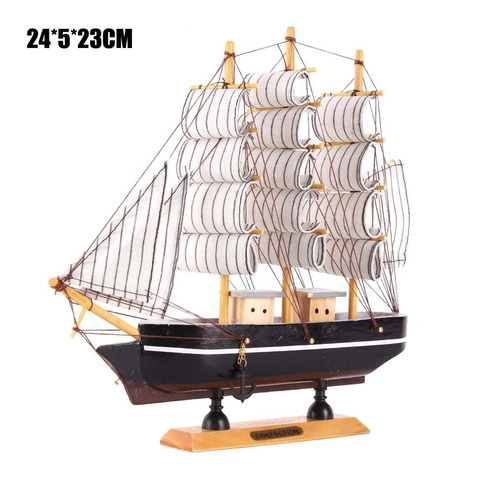 barco madera hecho a mano decorativo marítimo 24 x 5 x 23 cm