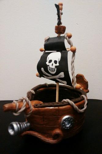 barco pirata centro de torta porcelana fria