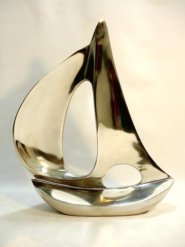 barco veleiro escuna em alumínio belíssima decoração