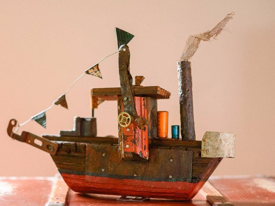 barcos de madera para decoracin de bibliotecas y escritorio