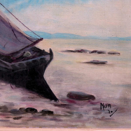 barcos -praia de deuville - oleo st - 40 x 60 cm !