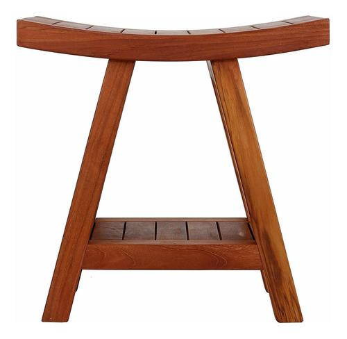 bare decor niles banco taburete con el estante en madera