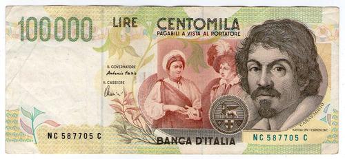 barese2013 billete de italia 100000 liras caravaggio