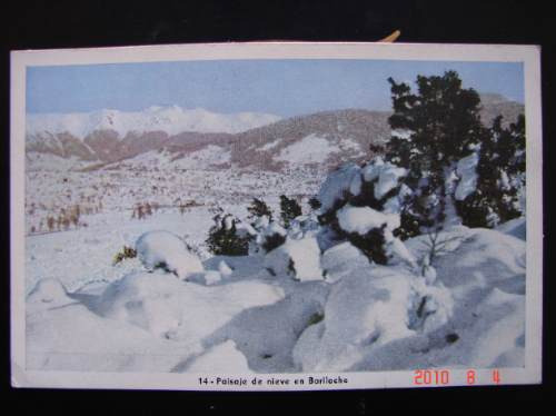 bariloche. paisaje de nieve. -  antigua postal.