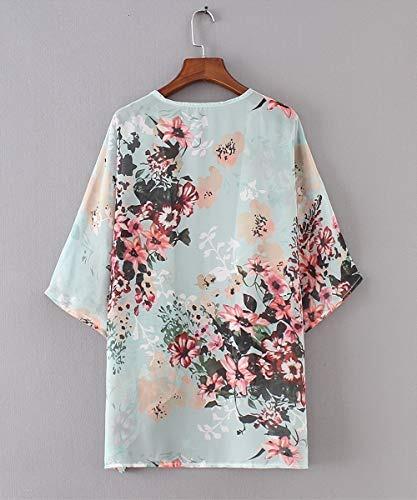 barlver kimono floral para mujer medios manga de gasa suelto