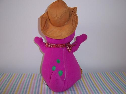barney cowboy pelúcia com músicas fischer price