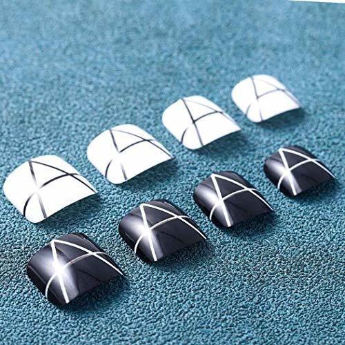 barode - 24 uñas postizas de acrilico con purpurina para lo