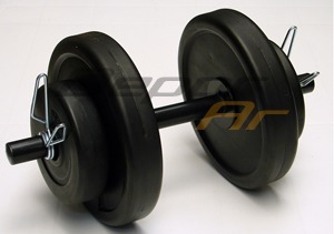 barra + 2 mancuernas + 24 kg en discos pesas fitness