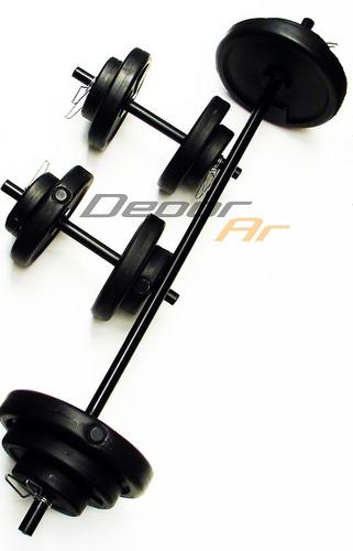 barra + 2 mancuernas + 24 kg en discos pesas kit set