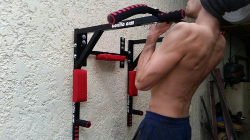barra 8 en 1 dominadas fondos abdomen box poleas fitness