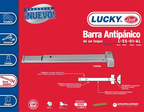 barra antipánico de toque 1 punto l5501al prolok