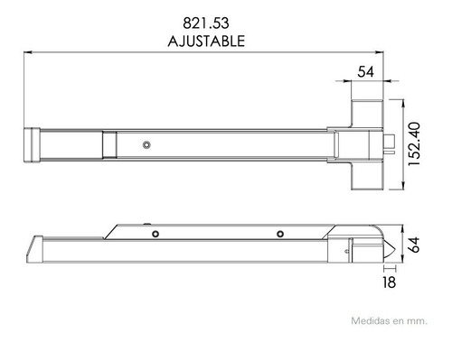 barra antipánico horizontal de acero inoxidable