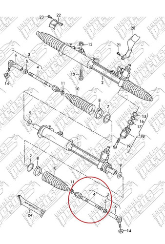 barra axial direção porsche cayenne v8 turbo 2003 a 2006