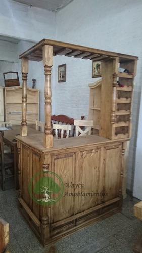barra bar de pino con copero y bodega 1.20 en l estilo campo