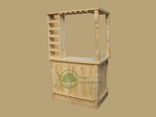 barra bar de pino con copero y bodega en l 1.20 x 80