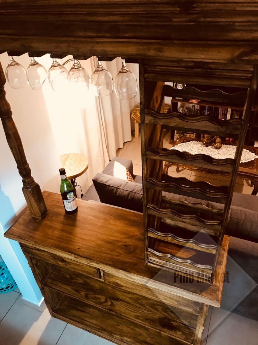 Barra Bar Mueble Desayunador Pino 120 Banquetas - $ 4.899,00 en ...