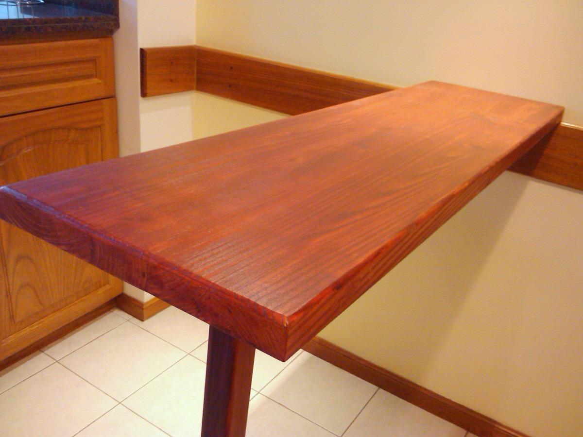 barra con pata mesada de madera para cocina desayunador