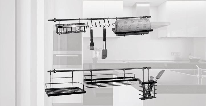 barra cromada para accesorios de cocina escurreplatos 1