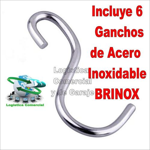 barra de acero inoxidable brinox 40 cm con 6 ganchos cocina