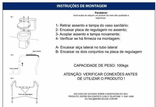 barra de apoio para vaso sanitário - regulável