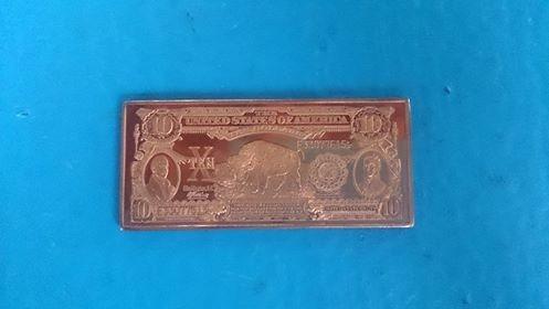 barra de cobre / 10 dollar's - u.s.a. comemorativa