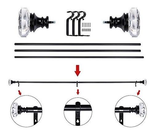 barra de cortina cortinero en negro con octágono acrílico
